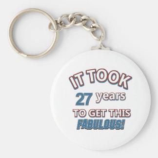 27th year birthday designs keychain