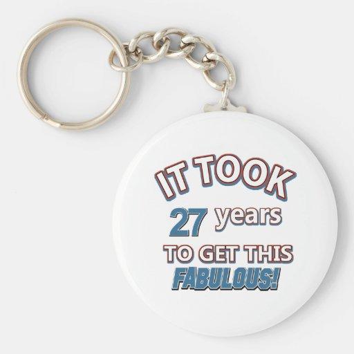 27th year birthday designs keychains