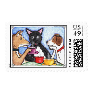 280 Dogs drinking coffee Postage Stamps