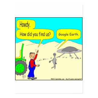 280 Google Earth Cartoon in color Postcard