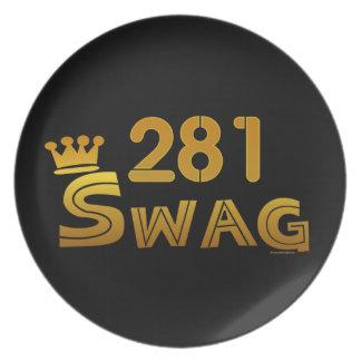 281 Area Code Swag Melamine Plate