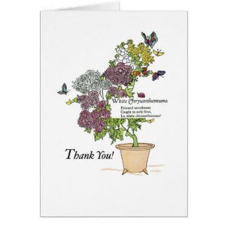2836 White Mums Thank You Cards