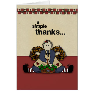 2837 Simple Thanks Country Prim Greeting Cards