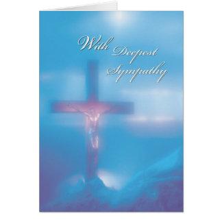 2845 Crucifix Blue Sympathy Greeting Cards