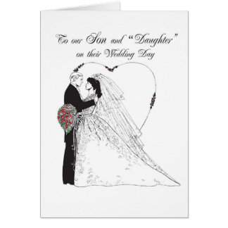 """2851 Son and """"Daughter""""  on Wedding Day Card"""