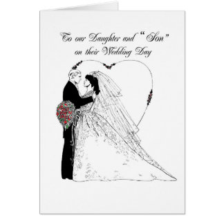 """2852 Daughter and """"Son"""" Wedding Blessings Greeting Card"""