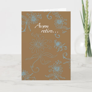 2856 Retirement, Brown With Blue Swirls Card