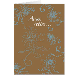 2856 Retirement, Brown With Blue Swirls Cards