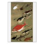28. 群魚図, 若冲 Various Fishes, Jakuchū, Japan Art Cards