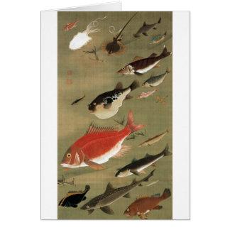 28. 群魚図, 若冲 Various Fishes, Jakuchū, Japan Art Card