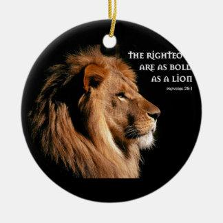 28:1 de los proverbios adorno navideño redondo de cerámica