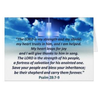 28:7 del salmo - 9 tarjeta de felicitación