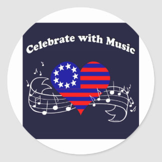 #28  Celebrate With Music Classic Round Sticker