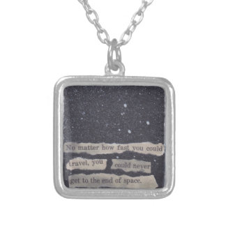 28 - end of space silver plated necklace