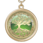 [28] Golden Celtic Tree of Life Gold Finish Necklace