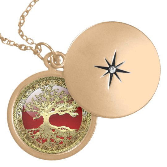 [28] Golden Celtic Tree of Life Locket Necklace