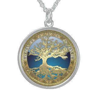 [28] Golden Celtic Tree of Life Round Pendant Necklace