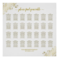 28 Table Wedding Seating Chart White & Gold Frills