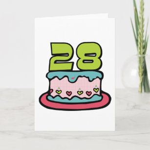 28 Year Old Birthday Cake Card