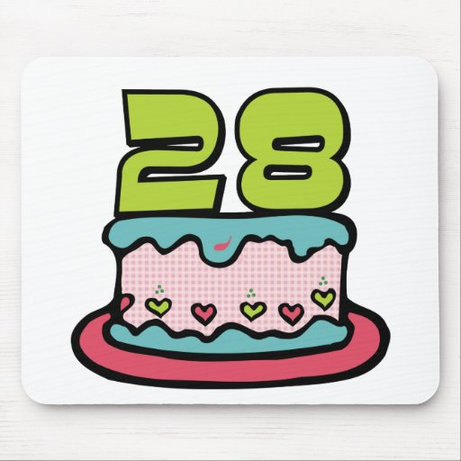 28 Year Old Birthday Cake Mouse Pad