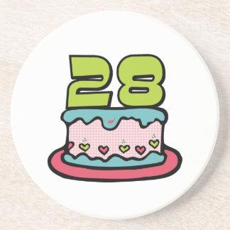 28 Year Old Birthday Cake Sandstone Coaster