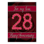 28th anniversary card with roses and leaves