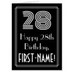 "[ Thumbnail: 28th Birthday — Art Deco Inspired Look ""28"" + Name Card ]"