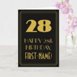 "[ Thumbnail: 28th Birthday – Art Deco Inspired Look ""28"" & Name Card ]"