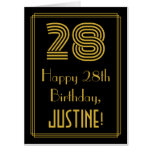 "[ Thumbnail: 28th Birthday: Art Deco Inspired Look ""28"" + Name Card ]"