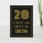"[ Thumbnail: 28th Birthday: Art Deco Inspired Look ""28"" & Name Card ]"