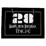 "[ Thumbnail: 28th Birthday ~ Art Deco Inspired Look ""28"" + Name Gift Bag ]"