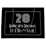 "[ Thumbnail: 28th Birthday — Art Deco Inspired Look ""28"" & Name Gift Bag ]"