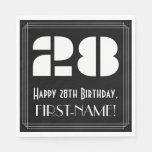 "[ Thumbnail: 28th Birthday: Art Deco Inspired Look ""28"" + Name Napkins ]"
