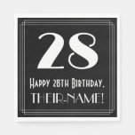 "[ Thumbnail: 28th Birthday ~ Art Deco Inspired Look ""28"", Name Napkins ]"