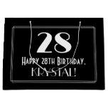 "[ Thumbnail: 28th Birthday: Art Deco Inspired Style ""28"", Name Gift Bag ]"