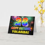 [ Thumbnail: 28th Birthday: Bold, Fun, Fireworks, Rainbow 28 Card ]