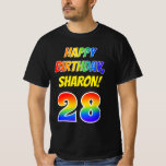 [ Thumbnail: 28th Birthday — Bold, Fun, Rainbow 28, Custom Name T-Shirt ]