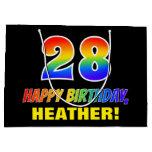 [ Thumbnail: 28th Birthday: Bold, Fun, Simple, Rainbow 28 Gift Bag ]