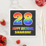 [ Thumbnail: 28th Birthday: Bold, Fun, Simple, Rainbow 28 Napkins ]