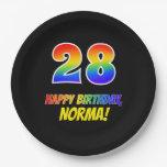 [ Thumbnail: 28th Birthday: Bold, Fun, Simple, Rainbow 28 Paper Plate ]