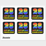[ Thumbnail: 28th Birthday: Bold, Fun, Simple, Rainbow 28 Sticker ]