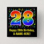 [ Thumbnail: 28th Birthday: Colorful Music Symbols, Rainbow 28 Button ]