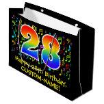 [ Thumbnail: 28th Birthday - Colorful Music Symbols, Rainbow 28 Gift Bag ]