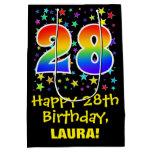 [ Thumbnail: 28th Birthday: Colorful Stars Pattern & Rainbow 28 Gift Bag ]