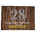 [ Thumbnail: 28th Birthday: Country Western Inspired Look, Name Gift Bag ]