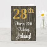 [ Thumbnail: 28th Birthday: Elegant Faux Gold Look #, Faux Wood Card ]