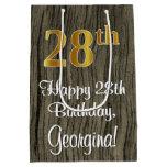 [ Thumbnail: 28th Birthday: Elegant Faux Gold Look #, Faux Wood Gift Bag ]
