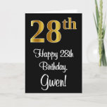 [ Thumbnail: 28th Birthday ~ Elegant Luxurious Faux Gold Look # Card ]