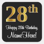 [ Thumbnail: 28th Birthday – Elegant Luxurious Faux Gold Look # Sticker ]