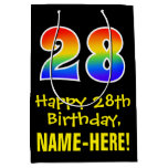 "[ Thumbnail: 28th Birthday: Fun, Bold, Colorful, Rainbow ""28"" Gift Bag ]"